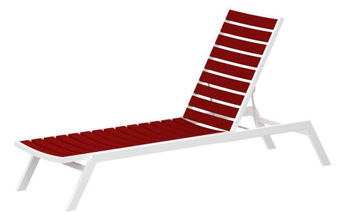 Polywood AC1-13SR Euro Chaise in Textured White Aluminum Frame / Sunset Red - PolyFurnitureStore