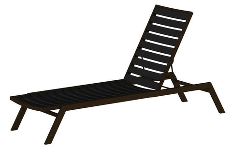 Polywood AC1-16BL Euro Chaise in Textured Bronze Aluminum Frame / Black - PolyFurnitureStore