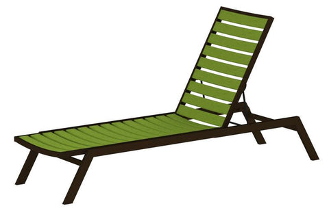 Polywood AC1-16LI Euro Chaise in Textured Bronze Aluminum Frame / Lime - PolyFurnitureStore