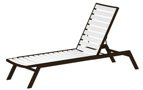 Polywood AC1-16WH Euro Chaise in Textured Bronze Aluminum Frame / White - PolyFurnitureStore