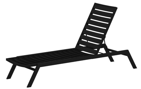 Polywood AC1FABBL Euro Chaise in Textured Black Aluminum Frame / Black - PolyFurnitureStore