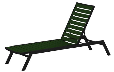 Polywood AC1FABGR Euro Chaise in Textured Black Aluminum Frame / Green - PolyFurnitureStore