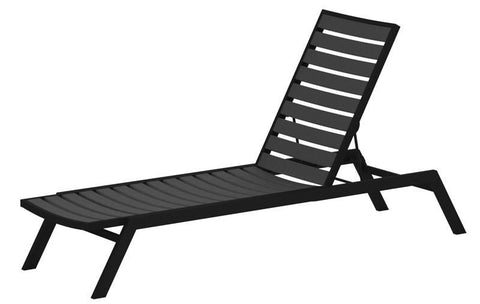Polywood AC1FABGY Euro Chaise in Textured Black Aluminum Frame / Slate Grey - PolyFurnitureStore