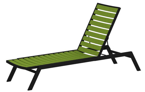 Polywood AC1FABLI Euro Chaise in Textured Black Aluminum Frame / Lime - PolyFurnitureStore