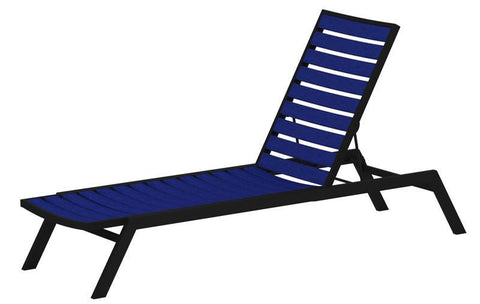 Polywood AC1FABPB Euro Chaise in Textured Black Aluminum Frame / Pacific Blue - PolyFurnitureStore