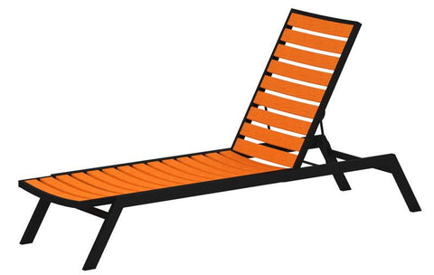 Polywood AC1FABTA Euro Chaise in Textured Black Aluminum Frame / Tangerine - PolyFurnitureStore
