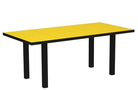 "Polywood AT3672FABLE Euro 36"" x 72"" Dining Table in Textured Black Aluminum Frame / Lemon - PolyFurnitureStore"