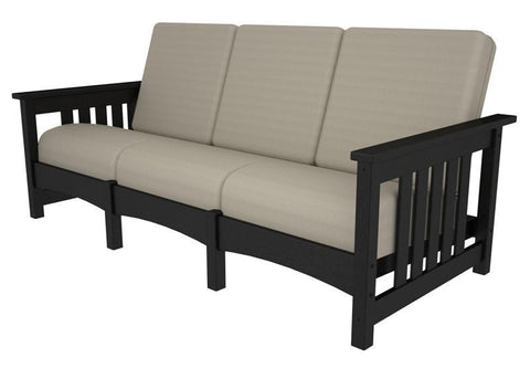 Polywood PWCMC71BL-5472 Mission Sofa in Black / Bird's Eye - PolyFurnitureStore