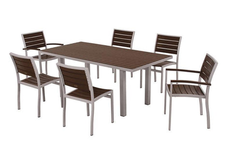 Polywood PWS117-1-11MA Euro 7-Piece Dining Set in Textured Silver Aluminum Frame / Mahogany - PolyFurnitureStore