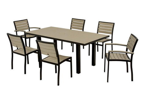 Polywood PWS117-1-12SA Euro 7-Piece Dining Set in Textured Black Aluminum Frame / Sand - PolyFurnitureStore