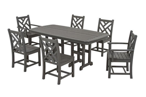 Polywood PWS121-1-GY Chippendale 7-Piece Dining Set in Slate Grey - PolyFurnitureStore