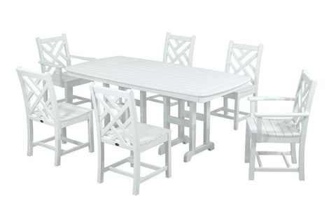 Polywood PWS121-1-WH Chippendale 7-Piece Dining Set in White - PolyFurnitureStore