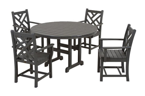 Polywood PWS122-1-GY Chippendale 5-Piece Dining Set in Slate Grey - PolyFurnitureStore