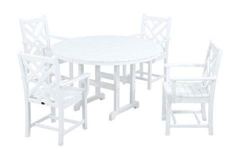 Polywood PWS122-1-WH Chippendale 5-Piece Dining Set in White - PolyFurnitureStore