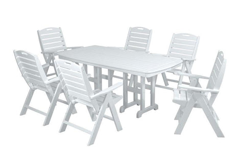 Polywood PWS125-1-WH Nautical 7-Piece Dining Set in White - PolyFurnitureStore