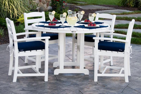 Polywood PWS132-2-WH5439 La Casa Café 5-Piece Dining Set w/ Cushions in White / Navy - PolyFurnitureStore