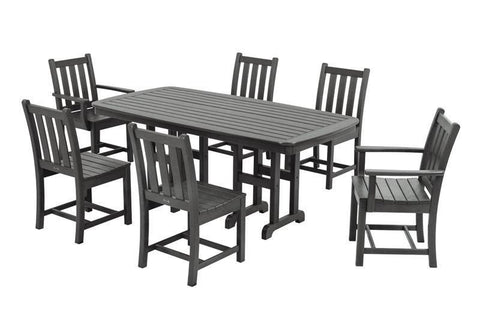 Polywood PWS133-1-GY Traditional Garden 7-Piece Dining Set in Slate Grey - PolyFurnitureStore