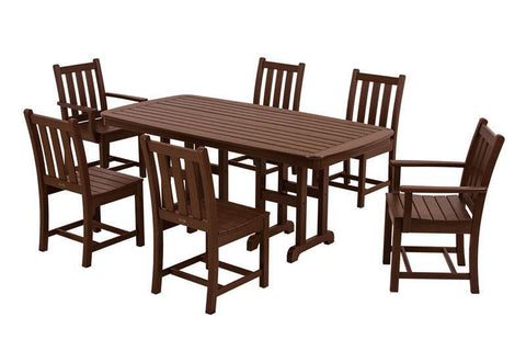 Polywood PWS133-1-MA Traditional Garden 7-Piece Dining Set in Mahogany - PolyFurnitureStore