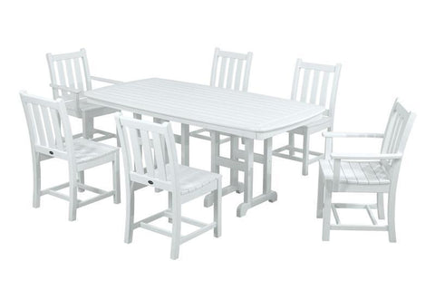 Polywood PWS133-1-WH Traditional Garden 7-Piece Dining Set in White - PolyFurnitureStore