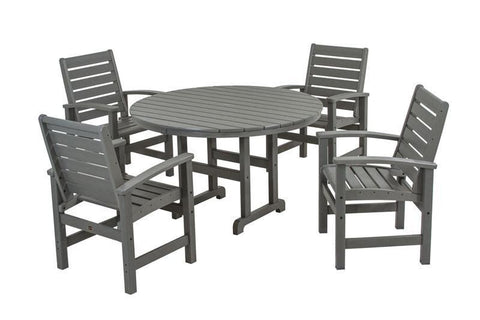 Polywood PWS152-1-GY Signature 5-Piece Dining Set in Slate Grey - PolyFurnitureStore
