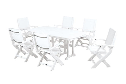 Polywood PWS154-1-WH901 Coastal 7-Piece Dining Set in White / White Sling - PolyFurnitureStore