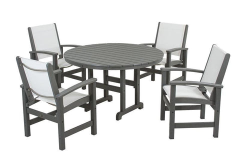 Polywood PWS155-1-GY901 Coastal 5-Piece Dining Set in Slate Grey / White Sling - PolyFurnitureStore