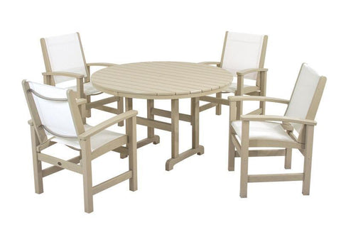 Polywood PWS155-1-SA901 Coastal 5-Piece Dining Set in Sand / White Sling - PolyFurnitureStore