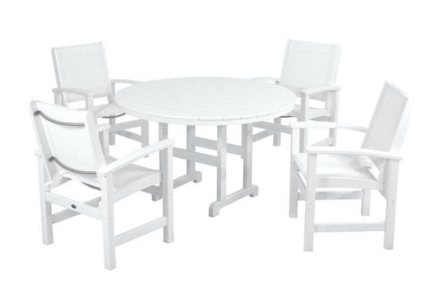 Polywood PWS155-1-WH901 Coastal 5-Piece Dining Set in White / White Sling - PolyFurnitureStore