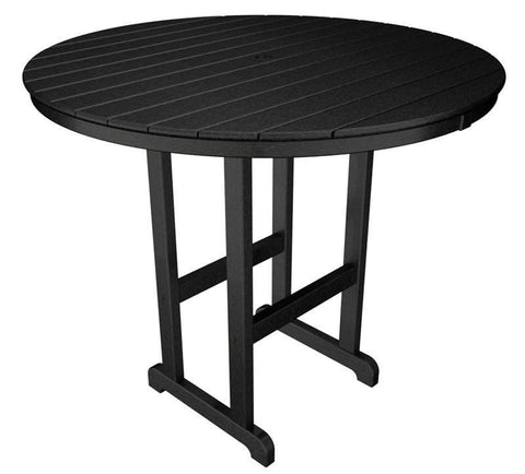 "Polywood RBT248BL Round 48"" Bar Table in Black - PolyFurnitureStore"