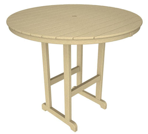 "Polywood RBT248SA Round 48"" Bar Table in Sand - PolyFurnitureStore"