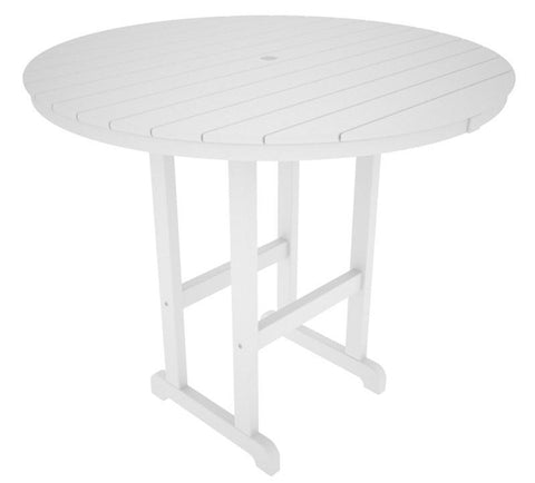 "Polywood RBT248WH Round 48"" Bar Table in White - PolyFurnitureStore"