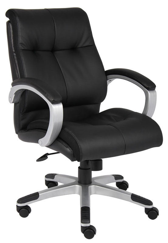 Boss Office Products B8776s-bk Boss Double Plush Mid Back...