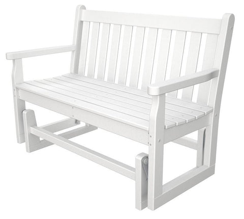 "Polywood TGG48WH Traditional Garden 48"" Glider in White - PolyFurnitureStore"