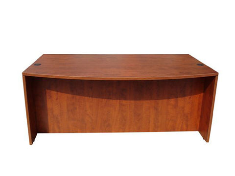 "Boss Office Products N189-C Boss Bow Front Desk Shell, Cherry 71W*36/41""D*29.5""H - Peazz Furniture"