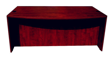 "Boss Office Products N189-M Boss Bow Front Desk Shell, Mahogany 71""W*36/41""D*29.5""H - Peazz Furniture"