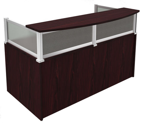 Boss Office Products N269G-M Plexiglass Reception Desk, Mahogany - Peazz Furniture