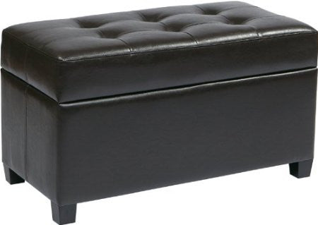Office Star OSP Designs MET804V-PB1 Vinyl Storage Ottoman in Espresso - Peazz Furniture