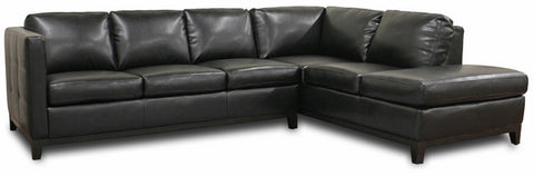 Wholesale Interiors 3166-Sofa/Chaise-DU013/L016 Rohn Black Leather Modern Sectional Sofa - Each - Peazz Furniture