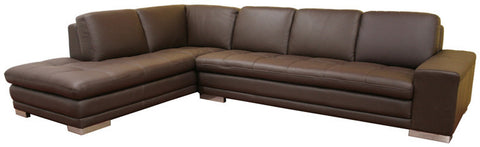Wholesale Interiors 766-sofa/lying-M9805-Reverse Callidora Dark Brown Leather-Leather Match Sofa Sectional Reverse - Each - Peazz Furniture
