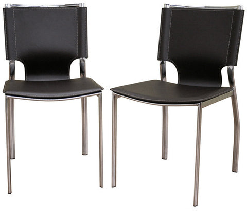 Wholesale Interiors ALC-1083-Brown Dark Brown Leather Dining Chair with Chrome Frame - Set of 2 - Peazz Furniture