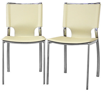 Wholesale Interiors ALC-1083 Ivory Montclare Ivory Leather Modern Dining Chair - Set of 2 - Peazz Furniture