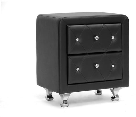 Wholesale Interiors BBT3084-Black-NS Stella Crystal Tufted Black Upholstered Modern Nightstand - Each - Peazz Furniture
