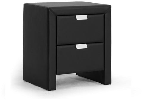 Wholesale Interiors BBT3089-Black-NS Frey Black Upholstered Modern Nightstand - Each - Peazz Furniture