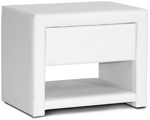 Wholesale Interiors BBT3092-White-NS Massey White Upholstered Modern Nightstand - Each - Peazz Furniture
