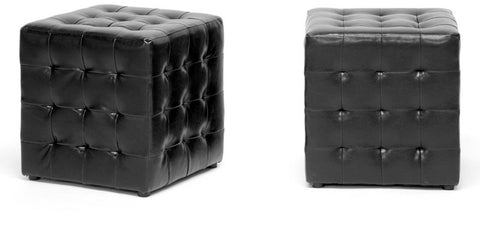 Wholesale Interiors BH-5589-BLACK-OTTO Siskal Black Modern Cube Ottoman - Set of 2 - Peazz Furniture