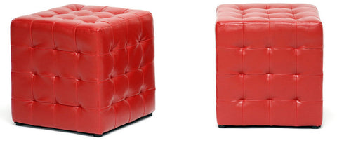 Wholesale Interiors BH-5589-RED-OTTO Siskal Red Modern Cube Ottoman - Set of 2 - Peazz Furniture