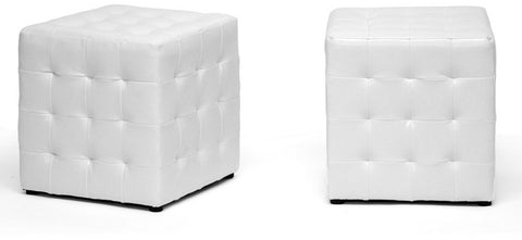 Wholesale Interiors BH-5589-WHITE-OTTO Siskal White Modern Cube Ottoman - Set of 2 - Peazz Furniture