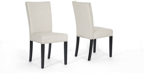 Wholesale Interiors BH-63113 Harrowgate Beige Linen Modern Dining Chair - Set of 2 - Peazz Furniture