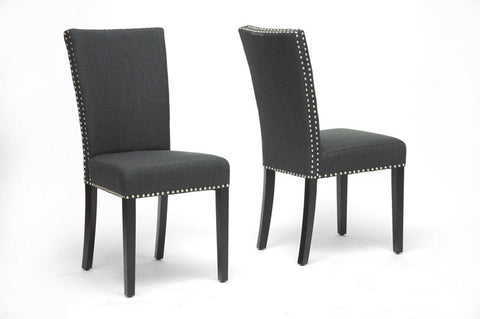 Wholesale Interiors BH-63113-Grey Harrowgate Dark Gray Linen Modern Dining Chair - Set of 2 - Peazz Furniture