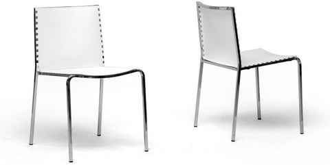 Wholesale Interiors DC-12-white Gridley White Plastic Modern Dining Chair - Set of 2 - Peazz Furniture